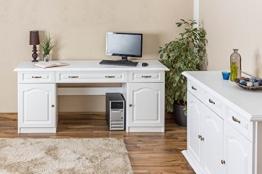 Schreibtisch Kiefer massiv Vollholz weiß Pipilo 19-1
